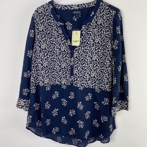 Lucky Brand Navy Peasant Top Blouse NWT size XL